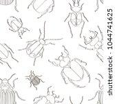 set of beetle illustrations... | Shutterstock .eps vector #1044741625