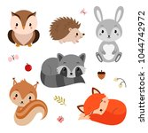 woodland animals set. | Shutterstock .eps vector #1044742972