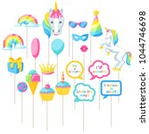 happy birthday photo booth... | Shutterstock .eps vector #1044746698