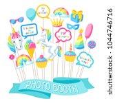 happy birthday photo booth...   Shutterstock .eps vector #1044746716