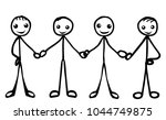 stick figure holding hands ... | Shutterstock .eps vector #1044749875