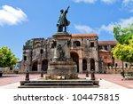 Columbus Statue and Cathedral, Parque Colon, Santo Domingo, Caribbean