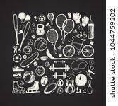 sport sketch equipment. hand... | Shutterstock .eps vector #1044759202