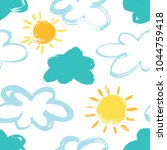 Stock vector kids hand drown clouds and sun expressive dry brushes seamless pattern 1044759418