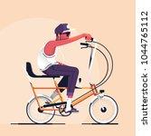 hipster riding an old school... | Shutterstock .eps vector #1044765112