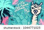 no drama llama  be cool. cute... | Shutterstock .eps vector #1044771025