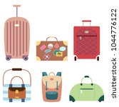 suitcase and travel bags vector ... | Shutterstock .eps vector #1044776122