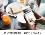 closeup of mobile phone showing ... | Shutterstock . vector #1044776158