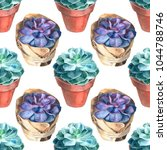 watercolor succulents pattern.... | Shutterstock . vector #1044788746