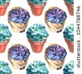 watercolor succulents pattern.... | Shutterstock . vector #1044788746