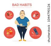 man bad habits. smoking and... | Shutterstock .eps vector #1044790126