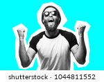 crazy hipster guy emotions.... | Shutterstock . vector #1044811552