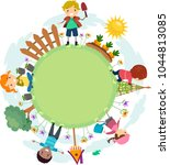 illustration of stickman kids... | Shutterstock .eps vector #1044813085