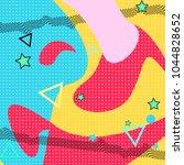 memphis background. cartoon... | Shutterstock .eps vector #1044828652