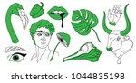 hand drawn vector set of... | Shutterstock .eps vector #1044835198