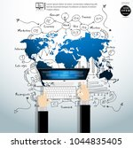 businessman hand and computer  ... | Shutterstock .eps vector #1044835405