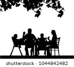 a family lunch outdoors in the ... | Shutterstock .eps vector #1044842482