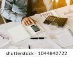 finger businessman using... | Shutterstock . vector #1044842722