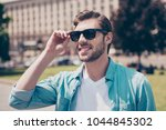 portrait of handsome careless... | Shutterstock . vector #1044845302