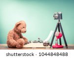 teddy bear toy sitting on old... | Shutterstock . vector #1044848488