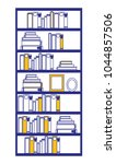 pile books library in wooden... | Shutterstock .eps vector #1044857506