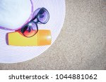 stylish beautiful hat with... | Shutterstock . vector #1044881062