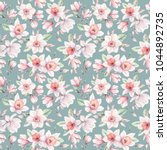 watercolor flowers seamless... | Shutterstock . vector #1044892735