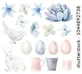 watercolor spring  objects set... | Shutterstock . vector #1044892738