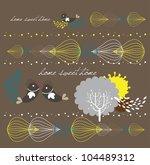 sweet lovely bird garden design | Shutterstock .eps vector #104489312
