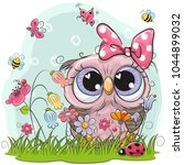 Stock vector cute owl with flowers and butterflies 1044899032