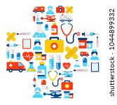 background made of medicine and ... | Shutterstock .eps vector #1044899332