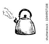 hand drawn whistling kettle... | Shutterstock .eps vector #1044907108
