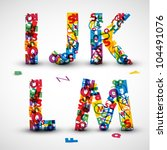 vector font made from color... | Shutterstock .eps vector #104491076