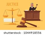 judge character with hammer.... | Shutterstock .eps vector #1044918556