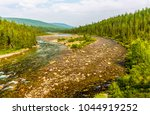 mountain valley forest river... | Shutterstock . vector #1044919252