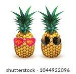 pineapple in sunglasses...   Shutterstock .eps vector #1044922096