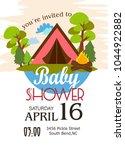 baby shower invitation card | Shutterstock .eps vector #1044922882
