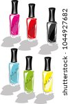 colorful nail polish | Shutterstock .eps vector #1044927682