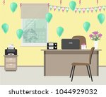 yellow office  decorated for... | Shutterstock .eps vector #1044929032