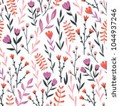 seamless floral design with... | Shutterstock .eps vector #1044937246