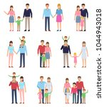 set of family groups with kids. ... | Shutterstock .eps vector #1044943018