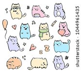 hand drawn funny cats... | Shutterstock .eps vector #1044961435