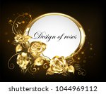 Oval Banner With Gold Frame...