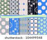 vector set of abstract floral... | Shutterstock .eps vector #104499548