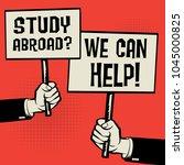 posters in hands  business... | Shutterstock .eps vector #1045000825