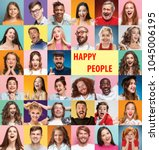 the collage of faces of... | Shutterstock . vector #1045006195