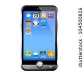 a silver phone width a blue... | Shutterstock .eps vector #104500826