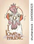 hen or rooster listen music... | Shutterstock .eps vector #1045008325