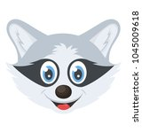 a funny smiling raccoon head | Shutterstock .eps vector #1045009618