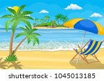 landscape of wooden chaise... | Shutterstock .eps vector #1045013185